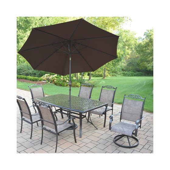 Cascade Aluminum 7 Piece Dining Set, Boat Shaped Table