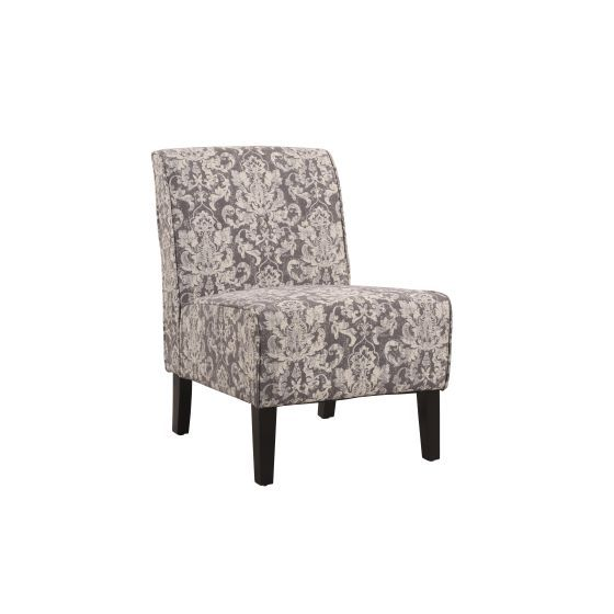 Coco Accent Fabric Slipper Chair in Gray Floral Pattern