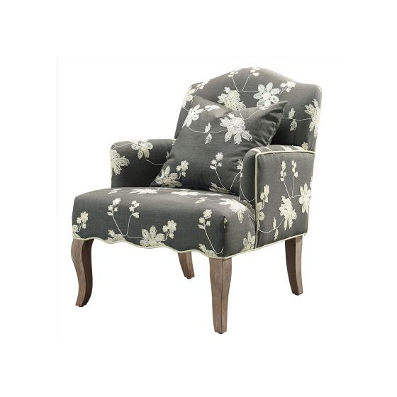 Floral Arm Chair in Gray