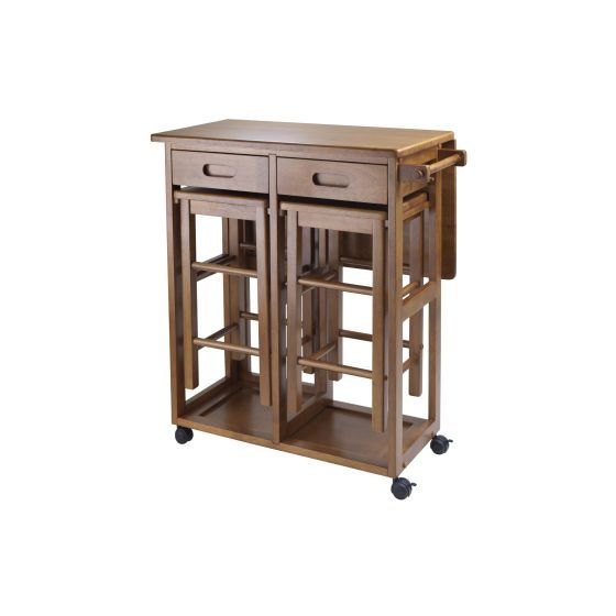 Space Saver with 2 Square Stool in Teak