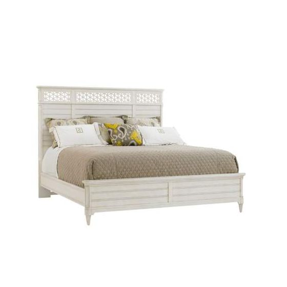 Cypress Grove Wood Panel Bed King in Parchment