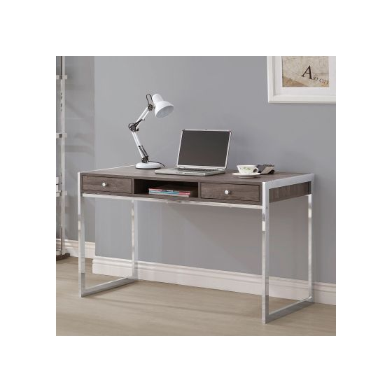 Dark Grey Office Desk with Chrome Legs