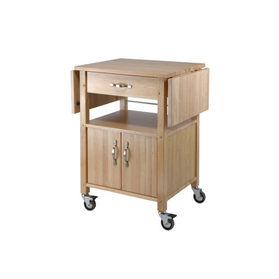 Block Kitchen Cart with Drop Leaf in Natural Finish