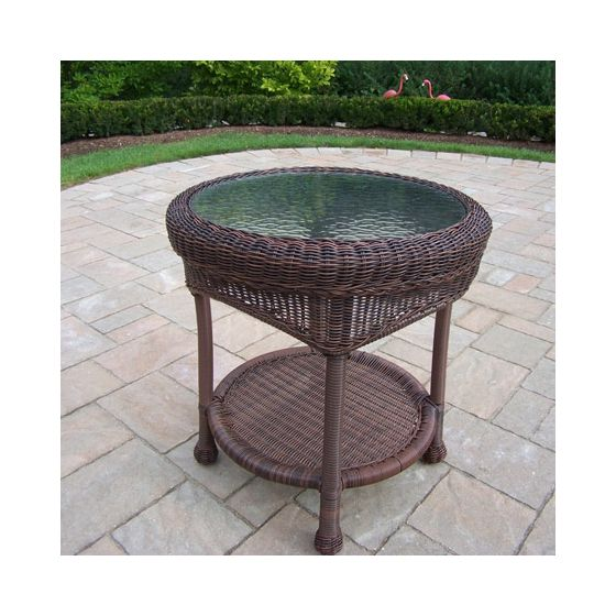 21-Inch Resin Wicker End Table