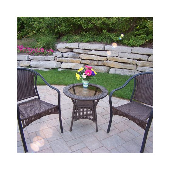 Tuscany Resin Wicker 3 Piece Chair And Table Set