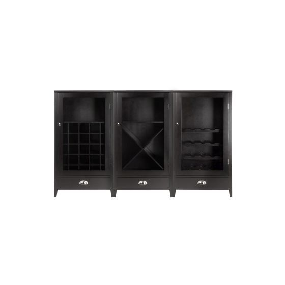 Expresso 3 Piece Wine Cabinet With Tempered Glass Doors