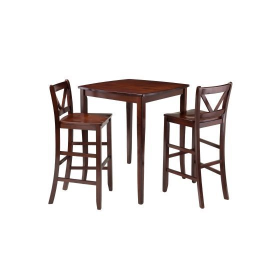 Inglewood 3 Piece High Table with 2 Bar V-Back Stools