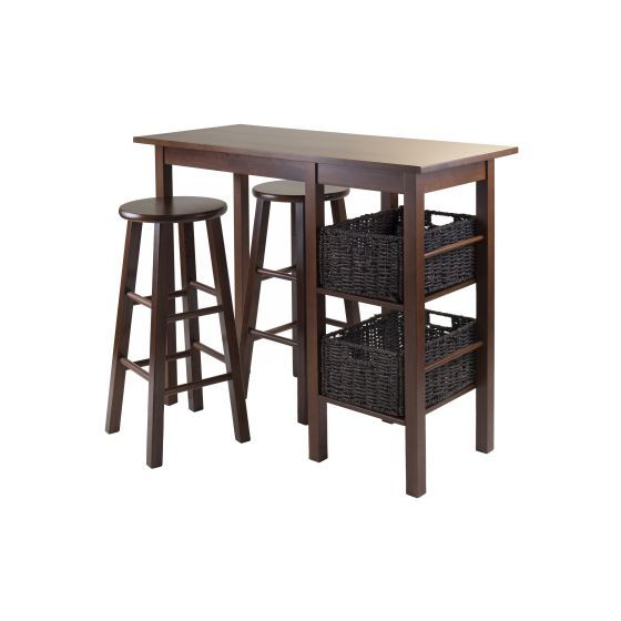 Egan 5 Piece Table with 2 Baskets & two 29' Stools