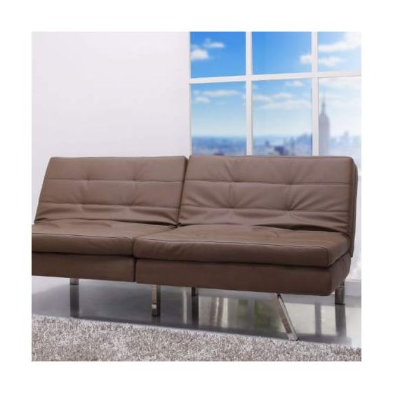 Memphis Double Cushion Futon Sofa Bed in Taupe