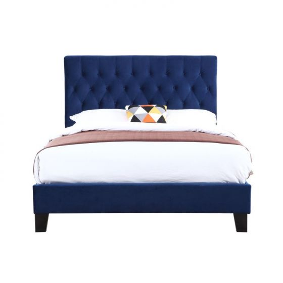 Amelia King Upholstered Bed in Navy