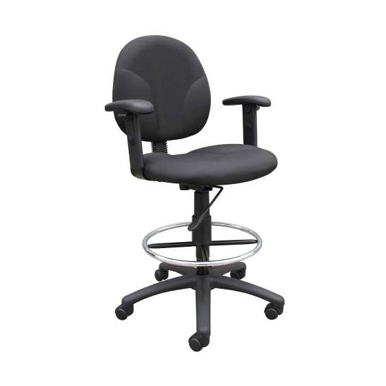 Black Fabric Drafting Stools with Adj Arms & Footring
