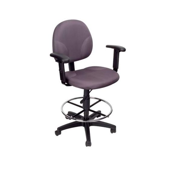 Gray Fabric Drafting Stools withAdj Arms & Footring