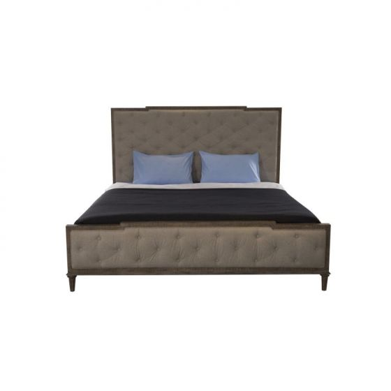 Interlude Tufted King upholstered Bed in White Linen