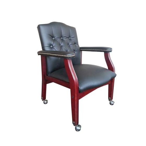 Traditional Black Caressoft Guest Chair with Mahogany Finish