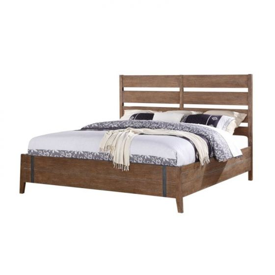 Viewpoint Cal King Bed with Slat HB in Driftwood