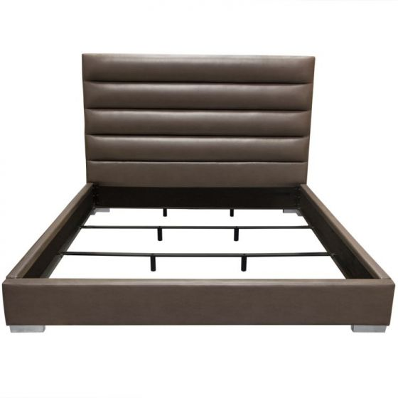 Bardot Channel Tufted Cal King Bed in Elephant Grey