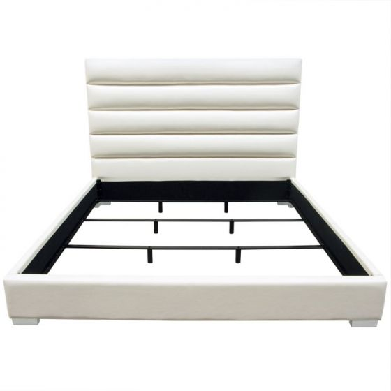 Bardot Channel Tufted Eastern King Bed in White Leatherette