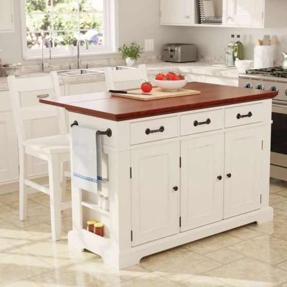 Country Kitchen Island with 2 Stools in White