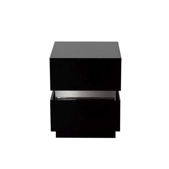 Elle 2-Drawer Accent Table, High Gloss Black