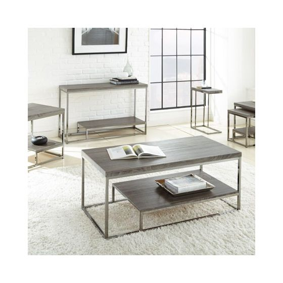 Lucia Cocktail Table in Black Nickel