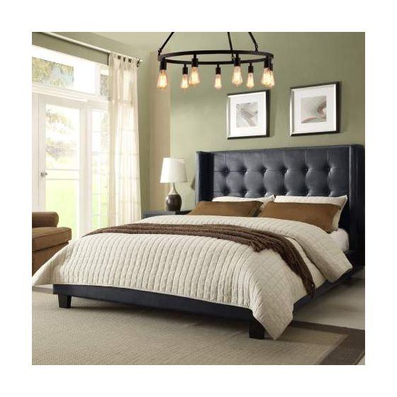 Madison Tufted California King Bed w/Tapered Wings, Black