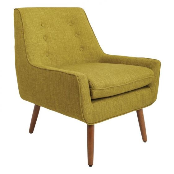 Rhodes Chair in Green Fabric with Coffee Legs