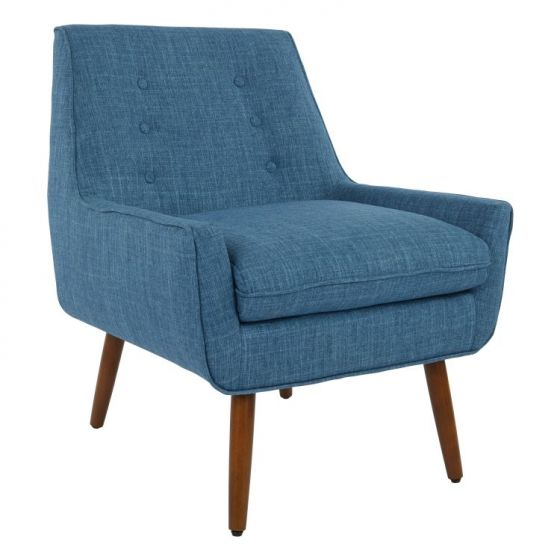Rhodes Chair in Blue Fabric with Coffee Legs