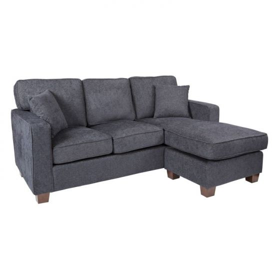 Russell Sectional In Navy Fabric With 2 Pillow Coffee Legs