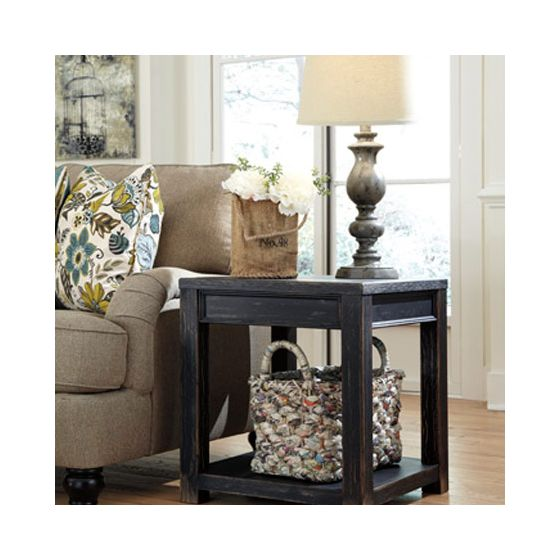 Gavelston Square End Table in Black Finish