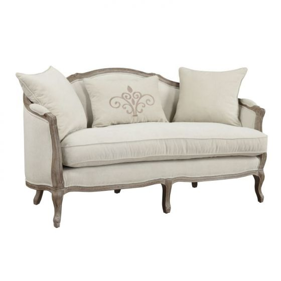 Salerno Settee-Sand with 2 Pillows/1 Kidney Pillow in Gray
