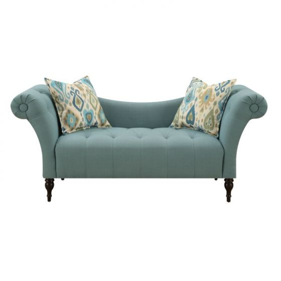 Lucille Settee with 2 Accent Pillows in Blue
