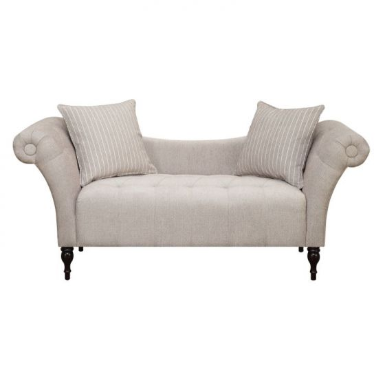 Lucille Settee with 2 Pillows in Linen