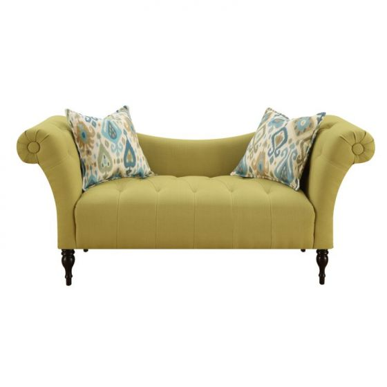 Lucille Settee with 2 Accent Pillows in Lime