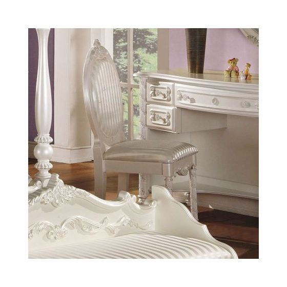 Pearl White Ginny's Chair in Gold Accent