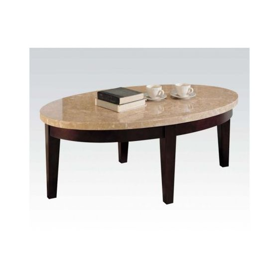 Britney Coffee Table in White Marble and Walnut