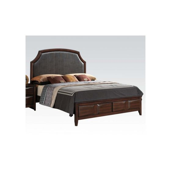 Lancaster Eastern King Bed Espresso Finish / Brown Pu