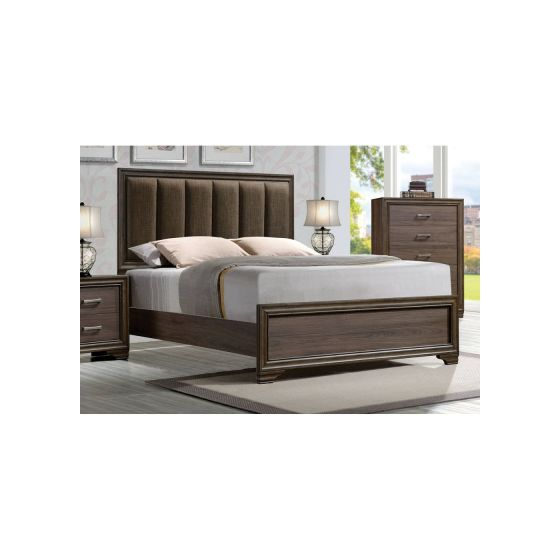 Cyrille Eastern King Bed (Padded HB) Fabric & Walnut