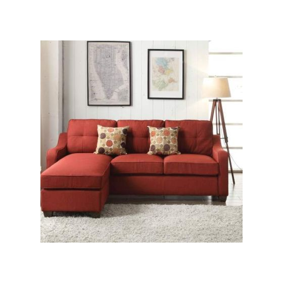 Cleavon II Sectional Sofa & 2 Pillows in Red