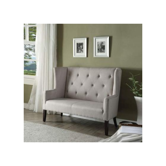 Najia Settee with Beige Fabric & Espresso Finish