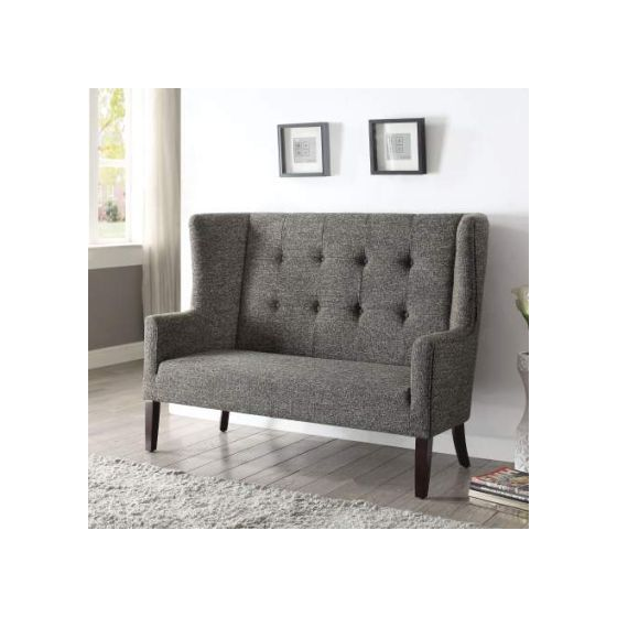 Paloma Settee with Gray Fabric & Espresso Finish