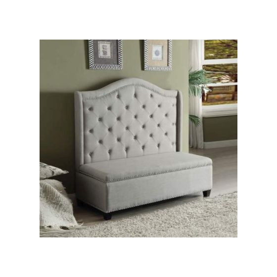 Fairly Settee with Storage in Beige Fabric and Espresso