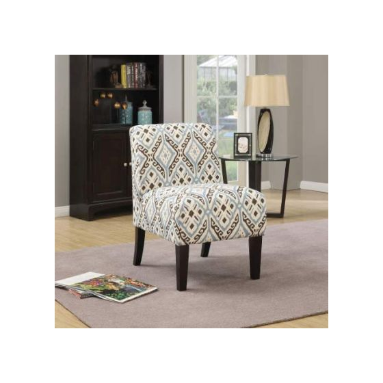 Ollano Accent Chair with Blue Pattern Fabric Finish