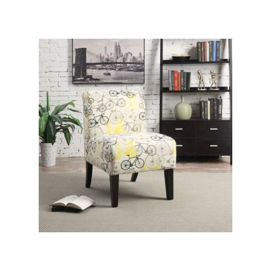 Ollano Accent Chair with Bike Pattern Fabric Finish