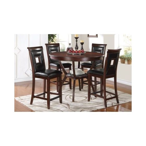 Oswell 5 Piece Stoneberry Counter Height Set in Black Cherry