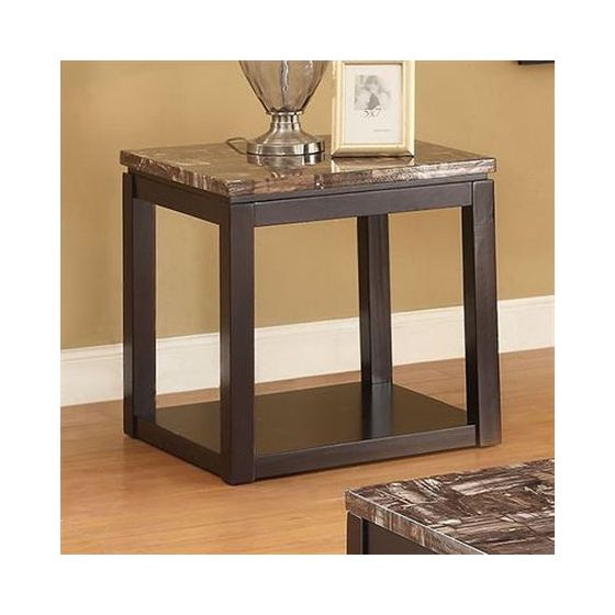 Dusty End Table in Faux Marble & Espresso
