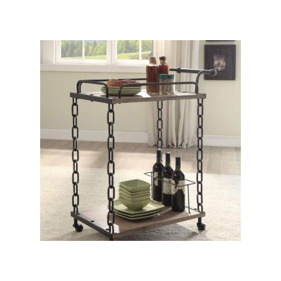 Jodie Serving Cart with Rustic Oak & Antique Black Finish