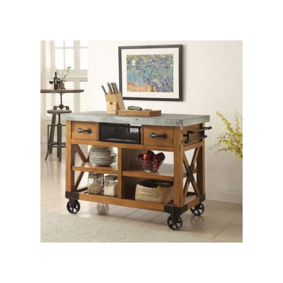 Kailey Kitchen Cart with Antique Oak Finish