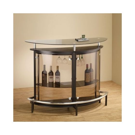 Contemporary Home Bar Unit with Smoked Acrylic Front