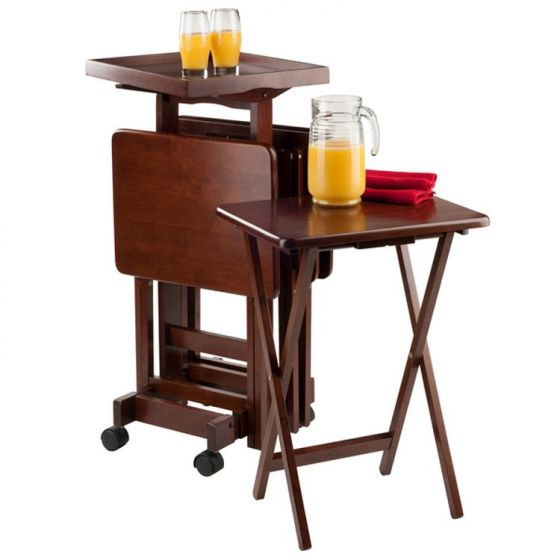 6-pc Set Snack Tables in Walnut