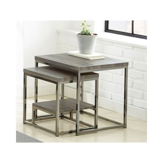 Lucia 2 Pc Nesting Table in Black Nickel